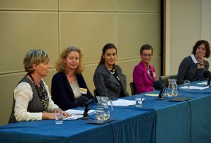 From left to right: Lynn Drummond (Chair), Chair of Infirst Healthcare and Venture Life Group, Jane Osbourn, VP of Research at MedImmune and Head of Site, MedImmune Cambridge, Inga Deakin, Principal at Imperial Innovations, Sally Waterman, Senior VP of Corporate Development at Abzena, and Julie Walters, Founder of Raremark. Photo by Nigel Luckhurst, courtesy of Cambridge Judge Business School.